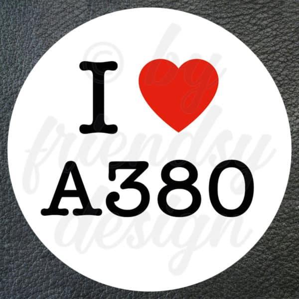 "Aufkleber ""I Love A380"" 1"