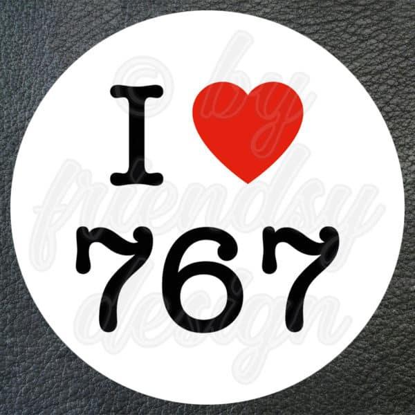 "Aufkleber ""I Love 767"" 1"