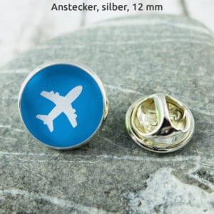 Anstecker Flieger weiß auf hellblau (KLM)
