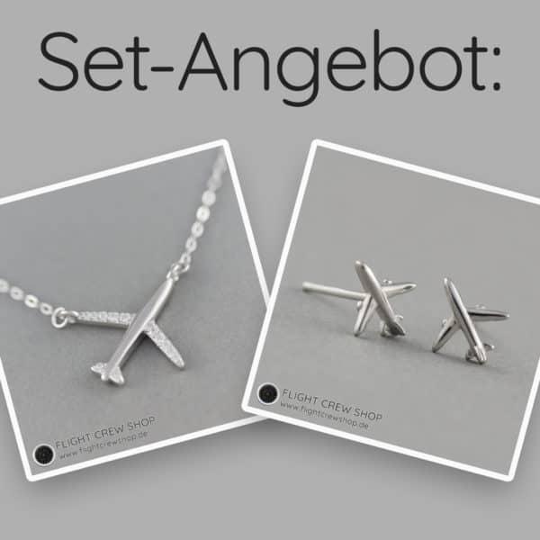 Set Halskette und Ohrstecker Flugzeug 925er Sterling Silber 1