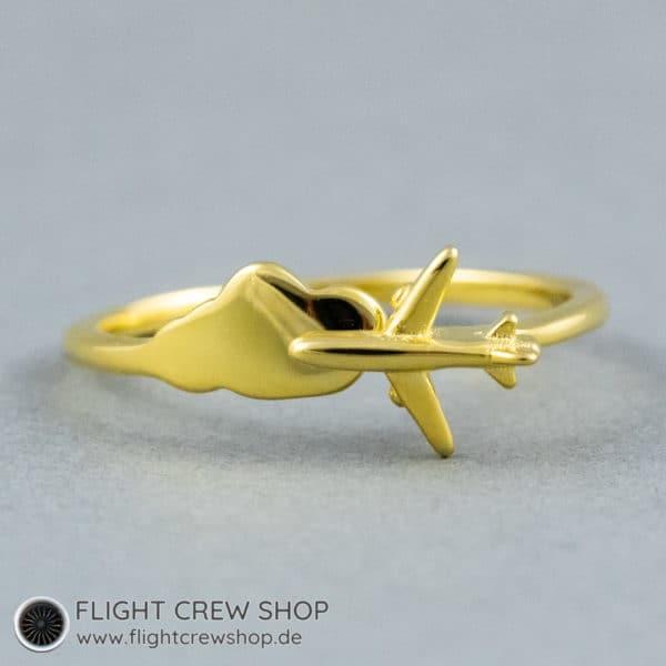 Ring Flugzeug vergoldet 1