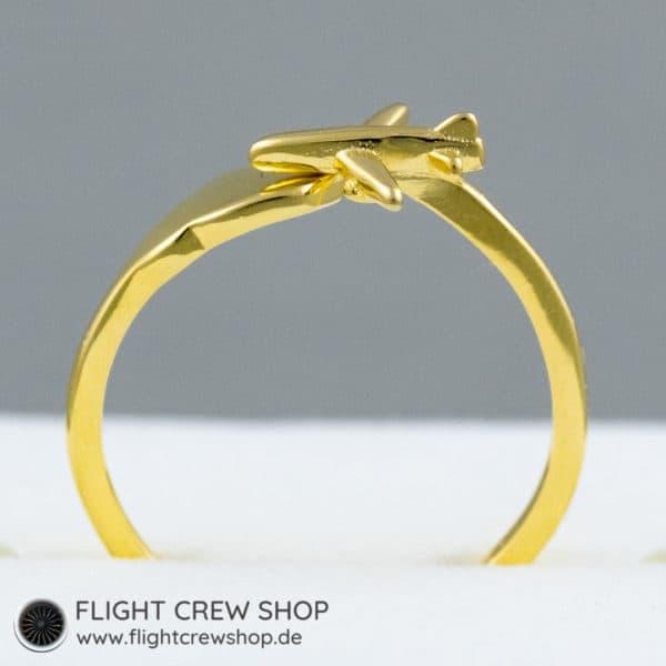 Ring Flugzeug vergoldet 2