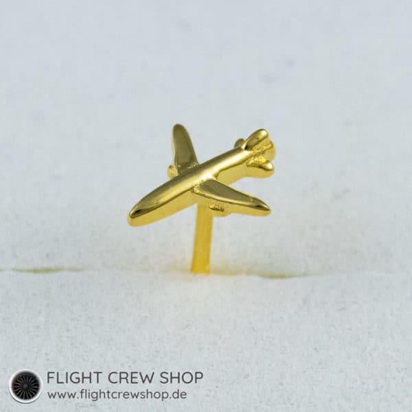 Ohrstecker Flugzeug 3D vergoldet 2