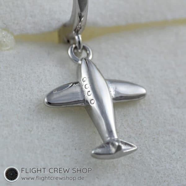 Ohrringe Flugzeug Creole 925er Sterling Silber 2